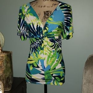 New Willi Smith Twisted Tropical Leaf Top Large